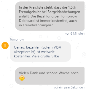Bargeld abheben Kosten Tomorrow Bank